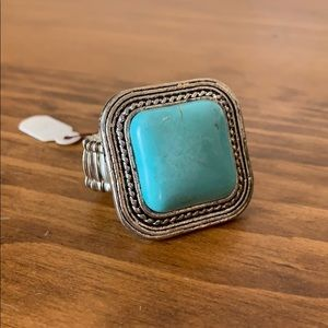 Jewelry - Turquoise Square Ring with Stretchy Band